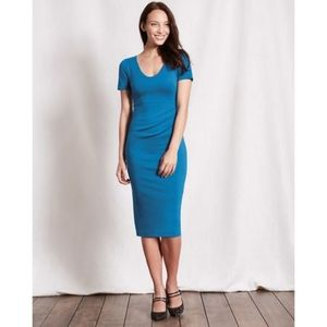 Boden Honor Jersey Teal Blue Midi Dress Size 6